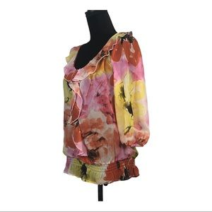 CHENAULT TOP SHEER RUFFLE FRONT MULTI COLOR